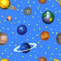 Doodle Cosmos VECTOR Background, Seamless Pattern, Hand Drawn Colored Planets on Bright Blue Sky.