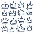 Doodle crown. Kingdom tiaras crowns king queen corona princess diadem sketch doodle drawn royal jewel imperial