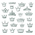 Doodle crowns. Sketch crown queen king coronet urban grunge ink art crowning vintage coronal icons majestic tiara Royalty Free Stock Photo