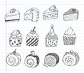 Doodle cupcake icons cartoon vector illustration Royalty Free Stock Photos