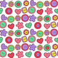 Doodle cute buttons seamless vector pattern Royalty Free Stock Photo