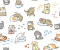 Doodle cute little cat vector seamless pattern
