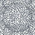 Doodle daisies outline ornamental seamless pattern Royalty Free Stock Photo