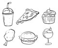 Doodle designs of the different foods illustration on a white background Royalty Free Stock Images