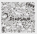 Doodle dinosaur element cartoon vector illustration Stock Photos