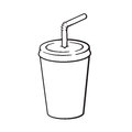 Doodle of disposable glass of paper with soda and straw