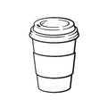 Doodle of disposable paper cup with coffee or tea