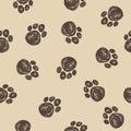 Doodle dog tracks seamless pattern background. Royalty Free Stock Photo