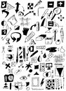 Doodle drawing equipment and icons Stock Photos