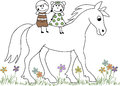 Doodle drawn girl and boy on a horse children s hand riding Royalty Free Stock Images