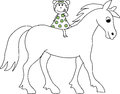 Doodle drawn girl on a horse children s hand riding Royalty Free Stock Image
