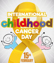 Doodle Drawn over Golden Ribbon for International Childhood Cancer Day, Vector Illustration Royalty Free Stock Photo