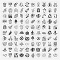 Doodle eco icons cartoon vector illustration Stock Photos