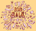 Doodle elements big sale set of hand drawn letters for clothing vector illustration and signs isolated on yellow background Royalty Free Stock Photography