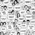 Doodle faces with speech bubbles and words Royalty Free Stock Photo