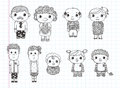 Doodle family icons illustrator line tools drawin drawing cartoon vector illustration Royalty Free Stock Photography