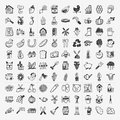 Doodle farming icon set cartoon illustration Royalty Free Stock Photos