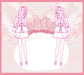 Doodle fashion girl shopping abstract pink card Royalty Free Stock Photography