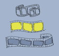 Doodle film strip frame blue background Royalty Free Stock Image