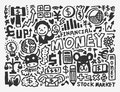 Doodle finance pattern cartoon vector illustration Royalty Free Stock Photos