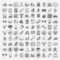 Doodle fitness icons Royalty Free Stock Photo