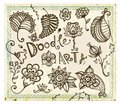 Doodle floral design elements vector set on grunge background eps illustration contains pattern brush for illustrator Stock Images