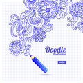 Doodle floral design hand drawn illustration Royalty Free Stock Images