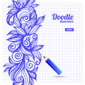 Doodle floral design sketch illustration Stock Image
