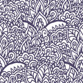 Doodle floral hand drawn ornament. Seamless background. Royalty Free Stock Photo