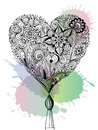 Doodle floral heart Royalty Free Stock Photo