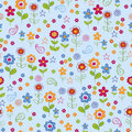 Doodle Flower Garden Seamless Repeat Pattern Royalty Free Stock Photo