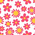 Doodle flower seamless pattern. Hand drawn sketch floral collection. Pink and yellow background. Fashion design