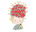 Doodle flowers beautiful girl face Royalty Free Stock Images