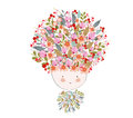 Doodle flowers beautiful girl face Royalty Free Stock Photo