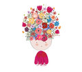 Doodle flowers beautiful girl face Royalty Free Stock Image