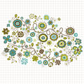 Doodle flowers design vector illustration Royalty Free Stock Photo