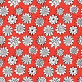 Doodle flowers pattern white on the orange seamless background Stock Image