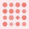 Doodle flowers set, pink red color. Beautiful floral design elements for wedding card. Zentangle backdrop, summer flower