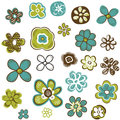 Doodle flowers set vector illustration Royalty Free Stock Photos