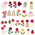Doodle flowers set vector illustration Royalty Free Stock Images