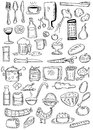Doodle food hand drawn kitchen food Royalty Free Stock Photo