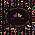 Doodle frame and heart bird flower seamless pattern Royalty Free Stock Photo
