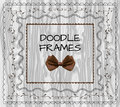 Doodle frames: VECTOR set with bow on light wood. Royalty Free Stock Photo