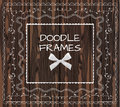 Doodle frames: VECTOR set with realistic bow on wood . Royalty Free Stock Photo