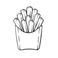 Doodle of french fries in a paper pack