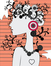 Doodle girl's silhouette Royalty Free Stock Photos