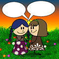 Doodle girls gossiping in a meadow children s hand drawn with speech bubble Royalty Free Stock Photography