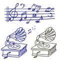 Doodle gramoph muzyki notatki set Fotografia Stock