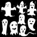 Doodle Halloween ghosts with Boo scary face shape. Spooky ghost white fly fun cute evil horror silhouette for scary october Royalty Free Stock Photo