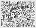 Doodle halloween holiday background cartoon illustration Stock Photo